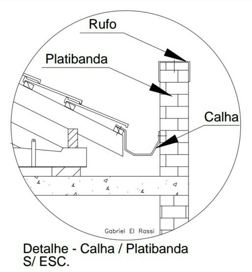Detalhe de locação de Platibanda e Calha.   Por: Gabriel El Rassi.