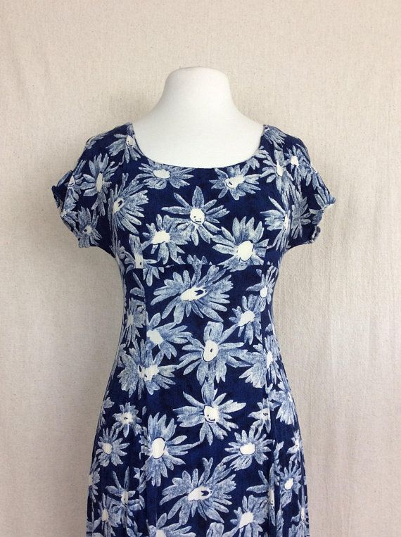 c6b2d6f9adc 1990s Blue and White Floral Dress by My Michelle    US Size Medium 6-