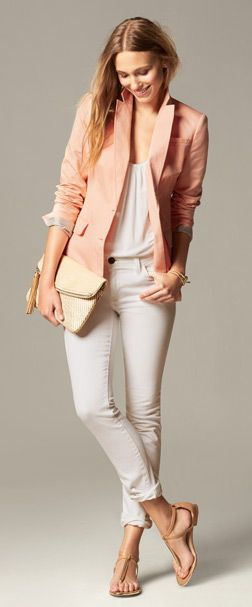 Pink blazer, white shirred tank, white skinny jeans and natural, flat strappy sandals | Banana Republic
