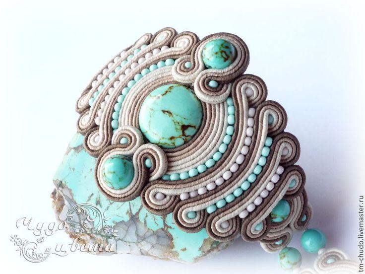 Soutache bracelet / Купить Сутажный браслет с бирюзой. - бирюзовый, бежевый, шоколадный, бирюза, бирюза и шоколад, сутаж