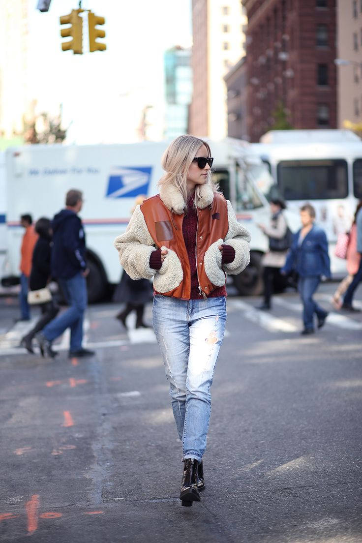 Hilfiger Collection shearling bomber jacket // Hilfiger Collection knit // Noisy May jeans (now on sale!) // Whistles boots (similar here and here) // Celine sunglasses