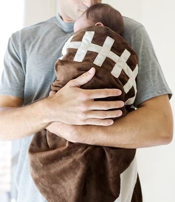 football blanket. my baby will live in this during football season.