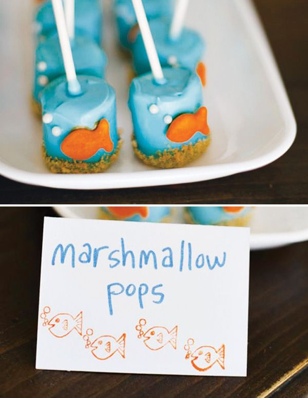 Playful Goldfish Inspired Pool Party // Hostess with the Mostess®-could be used for a Bubble Guppies party too