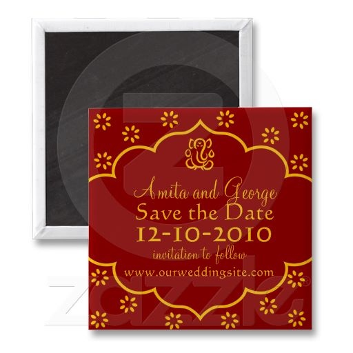 Indian Save the Date Magnet Red