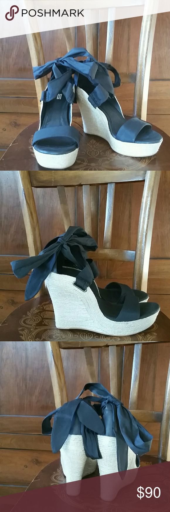 Ugg Jules wedge sandals size 8.5 M NWT!!! Gorgeous and super sexy I love these Ugg Jules wedge espadrilles . They are black leather and ribbon. Shoes Sandals