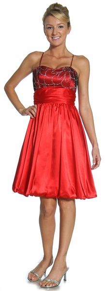 Red/Black Bridesmaid Dress Short Bubble Glitter Sweetheart Empire