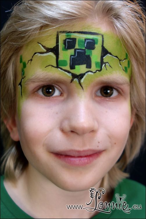 Lonnies Ansigtsmaling Minecraft Creeper  Face paint inspired by Heather Green