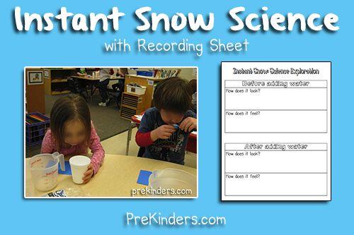 Recording Sheet for Instant Snow Science @ Prekinders.com