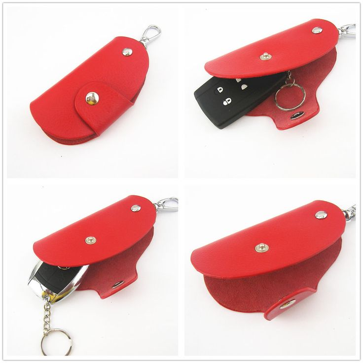 Red Universal Genuine Leather Remote Smart Key Fob Holder For BMW 3 5 7 Series #UUAutoParts