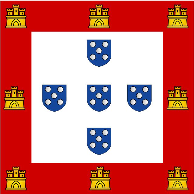 The sixth flag was introduced by the thirteenth king João II and would last until his son king Manuel I demise in 1495. The blue five quinas were redesigned, they are now all placed vertically and with only five dots inside. The number of castles was reduced to 8. Later that number would be further reduced to the actual 7 castles.
