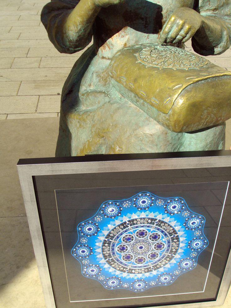 Mandala Blue Star / Size 66x66 cm / 1481 rhinestones/ Artist: Gordana Grahovar