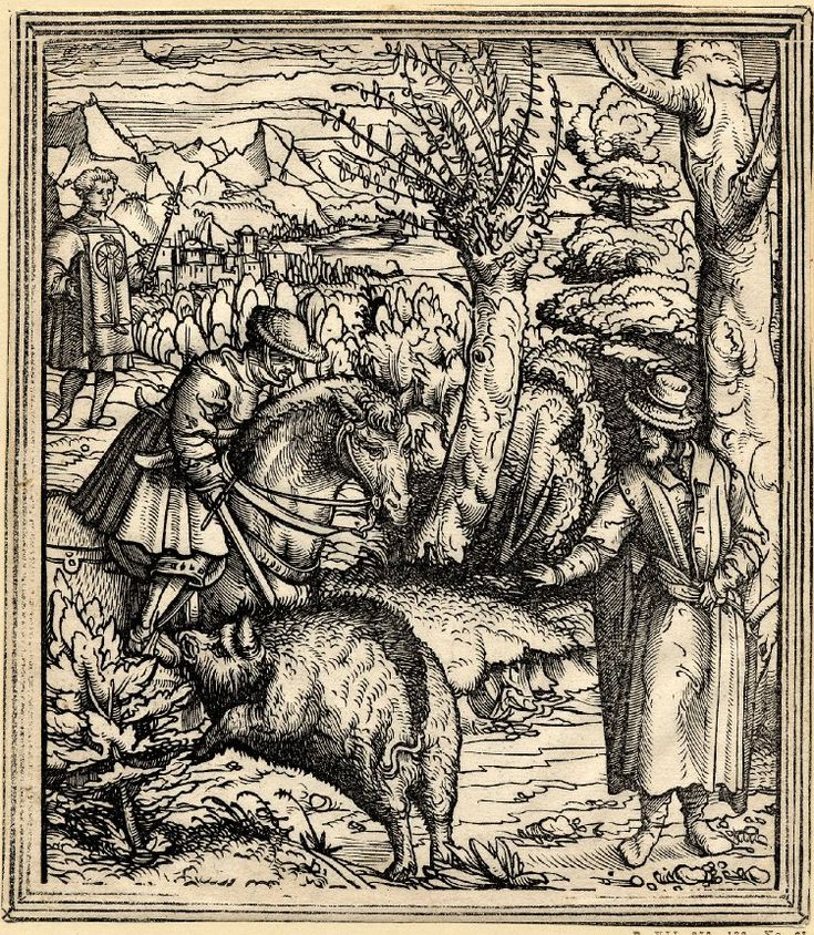 Leonhard Beck : heuerdank on a boar hunt  1480-1542 レオンハルト・ベック