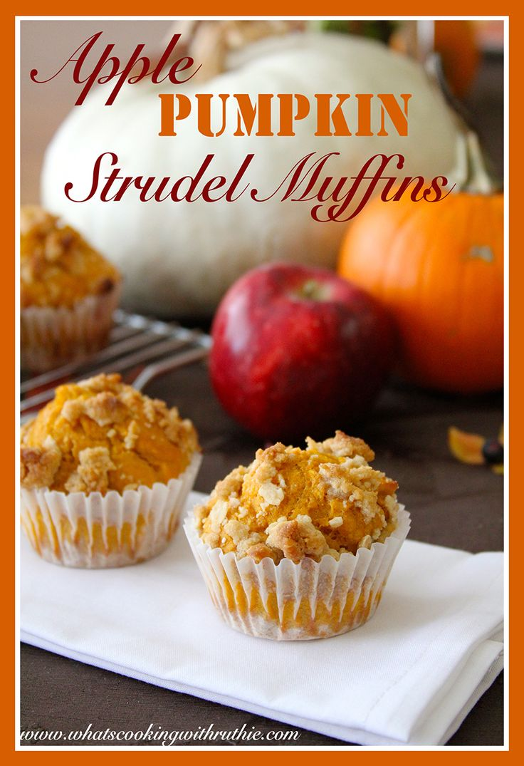 Apple Pumpkin Strudel Muffins are a quick and easy autumn brunch, starts from a muffin mix!  by whatscookingwithruthie.com #recipes #pumpkin #breakfast