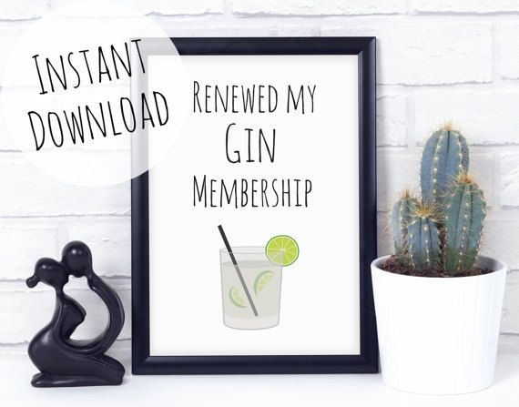 Funny Gin Pun Print Printable Card for Gin lovers, Alcohol gift