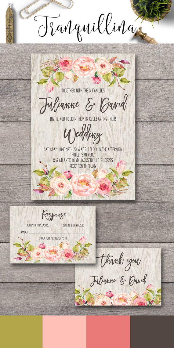diy wedding invitations elegant%0A Bohemian Wedding Invitation  Floral Wedding Invitation Printable   Watercolor Peony Invitations  DIY wedding Ideas