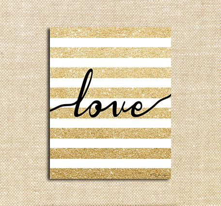 Gold Glitter Love Digital Printable Art | Instant Download | Happy Valentines Day | Wall Decor Art