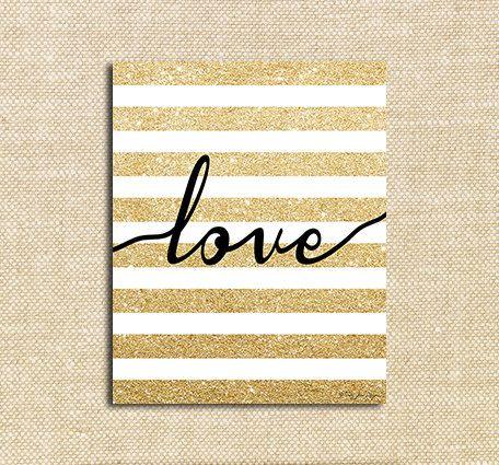 Gold Glitter Love Digital Printable Art | Instant Download | Happy Valentines Day | Wall Decor Art