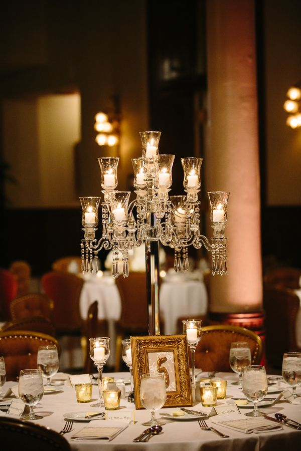 Medium Centerpiece. Love the candles and glam
