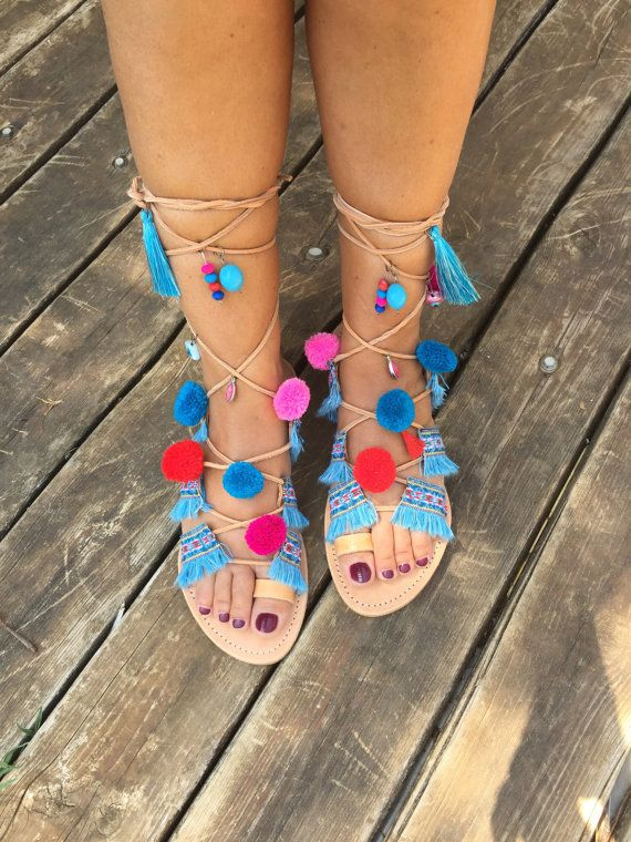 FREE SHIPPING Tie Up Sandals Pom Pom by BohemianFootprints on Etsy