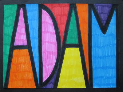 """Finding angles in our names. I Like the idea in this pin, but I would have the students look for angles in the shapes using their protractors. I would initially give the students words like """"Adam"""" to find the angles since there are many. Then I would allow the students to pick their own word, draw it, color the angles different colors, then measure and label."""