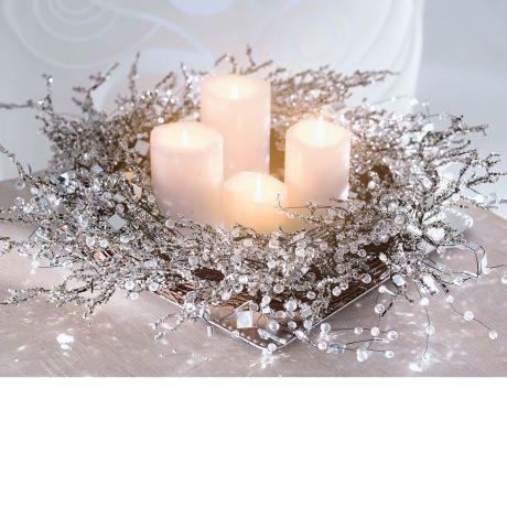 Dekokranz Snowglitter, Rattan/ Perlen/ Glaskristalle, Durchmesser ca. 50 cm Vorderansicht