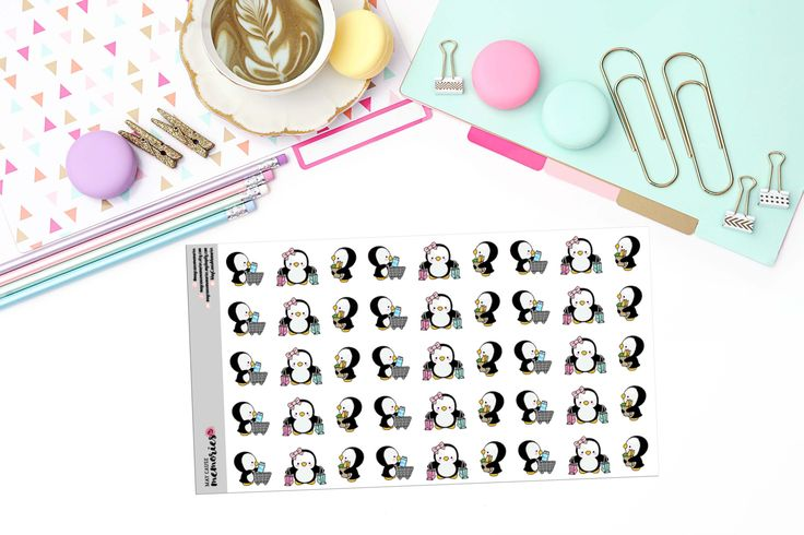 KAWAII SHOPPING PENGUINS Paper Planner Stickers! - KAW143