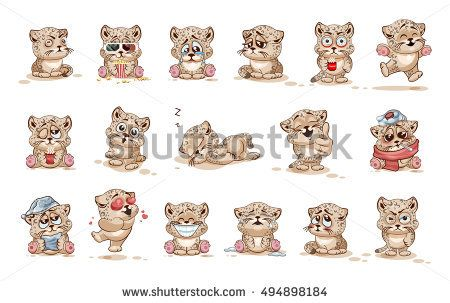Stock Illustrations isolated Emoji character cartoon leopard stickers emoticons with emotions for site, infographics, animation. Vector. Image