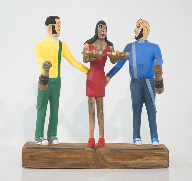 Collen Maswanganyi  Naughty Sons of Priest Eli, 2013 Corkwood, Willow wood and acrylic (43 x 41 x 18cm)