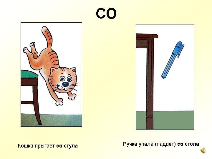 De kat springt van de stoel. De pen viel van de tafel.