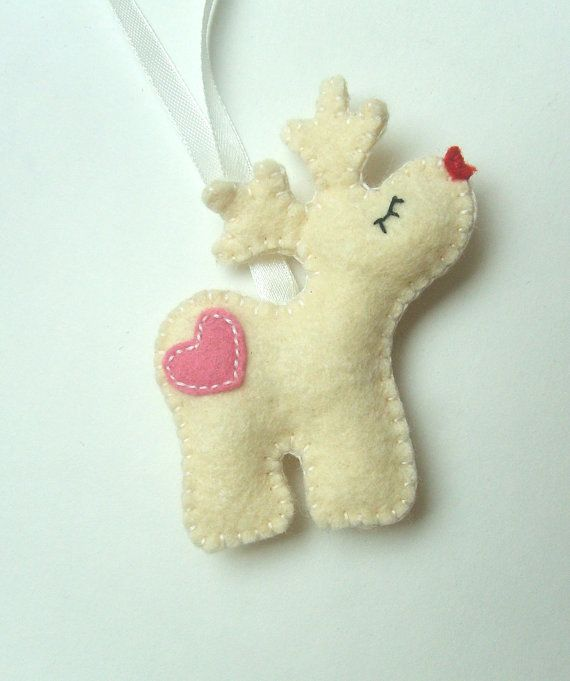 Rudolf Reindeer ornament felt ornaments by grabacoffee on Etsy