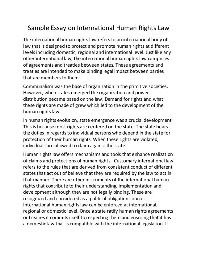 international human rights essay Sample essay on international human rights law 1 sample essay on international human rights law the international human rights law refers to an international body of law that is designed to protect and promote human rights at different levels including domestic, regional and international level.