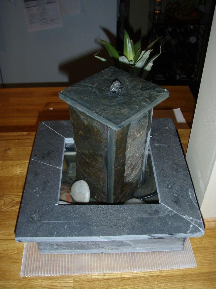 diy garden fountain diy slate tabletop fountain - Tabletop Fountains