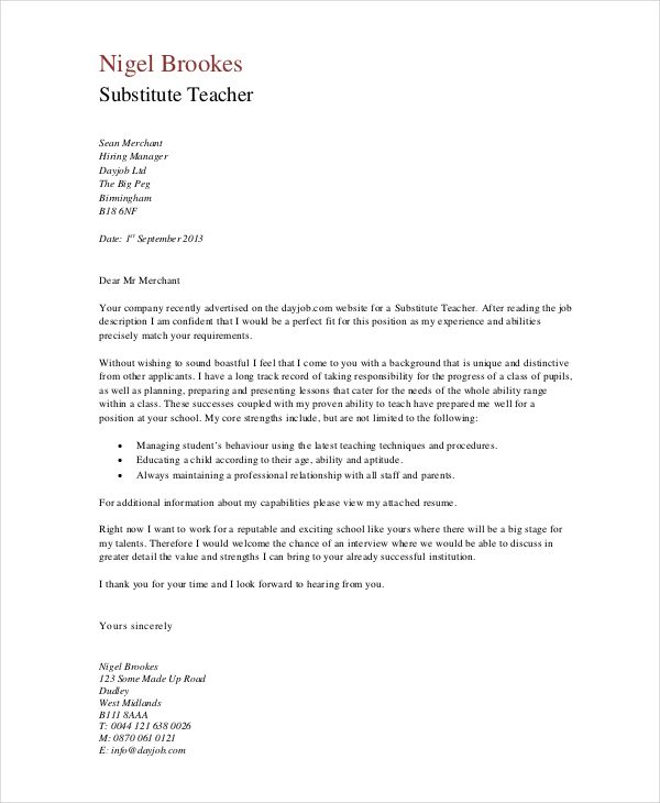 Teaching Assistant Cover Letter Teacher Examples Experience  Teaching Cover Letter Template