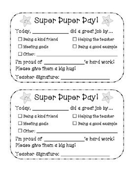 Packet of fun, easy to use behavior slips that you can send home to parents. Includes notes for good days and bad days!