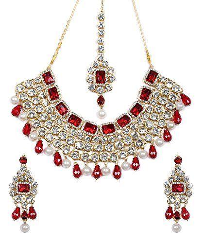 Beautiful Ethnic Indian Bollywood Designer Red White Pearl Kundan Polki Jewelry Set Women VVS Jewellers, http://www.amazon.com/dp/B01KBV053O/ref=cm_sw_r_pi_dp_x_Q7gGzb94BGG11