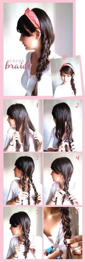 braid + braid + braid = cuteBraids Hairstyles, Hair Ideas, Three Braids, Makeup, Beautiful, Hairstyles Tutorials, Hair Style, Braids Braids, Side Braids