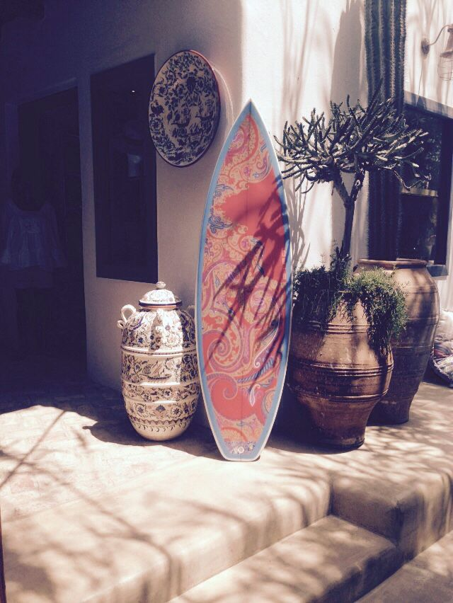 Adorable surf board decor in front of Nammos tourist shop in Mykonos