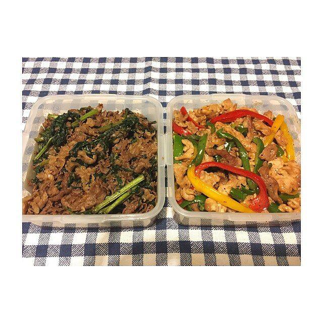 *牛肉と春菊のすき焼き風炒め *チンジャオロース ・ ・ ご飯が進むーー😋🍚 ・ ・ #作り置き #ごはん #お家ごはん #常備菜 #肉 #野菜 #主食 #副菜 #主菜 #お弁当 #料理 #supper #dinner #meal #lunch #vegetables #meat #instacook #instafood #instagood #japanese #food #love #eating #yammy #hungry #allday #l4l #l4f #gm