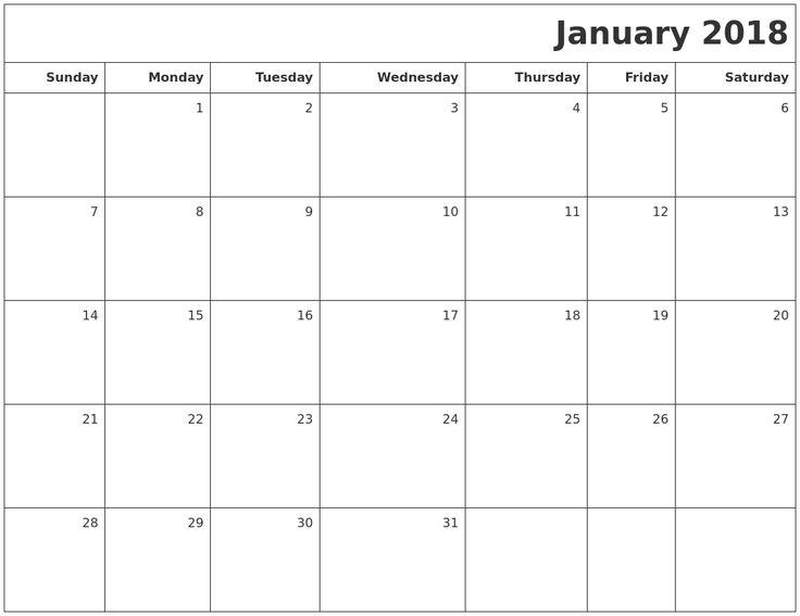 free printable january calendar 2018