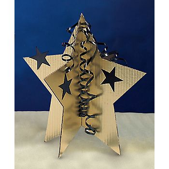 3-D star centerpieces make with cereal boxes, spray paint and glue nice paper.