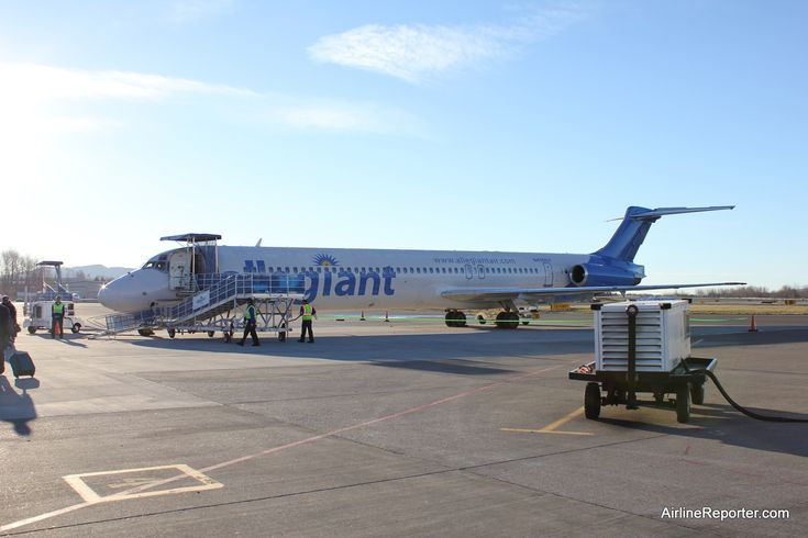 Allegiant MD-82 (N416NV) at Bellingham, WA with a blue tail.