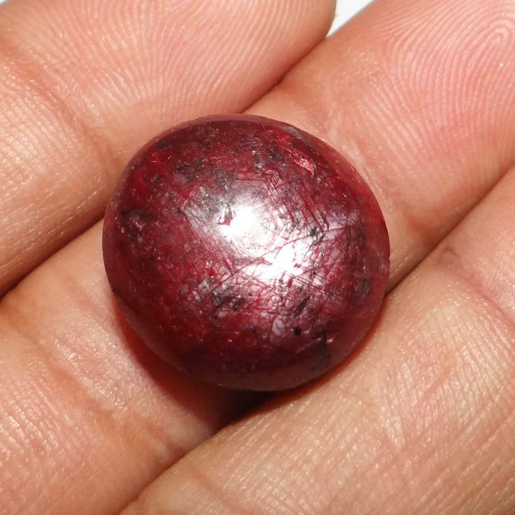 40.75Cts 100% Natural Red Star Ruby Stone Circle Untreated Africa Gemstone ..this is img