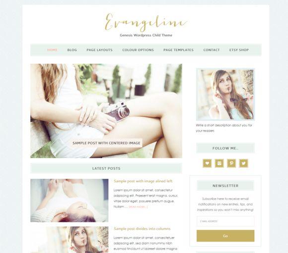 Evangeline Genesis Wordpress Theme by Lovely Confetti on Creative Market