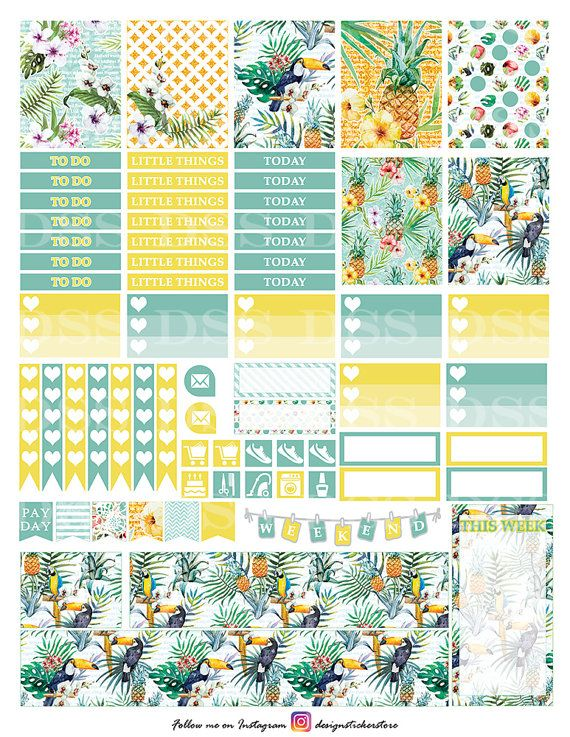 Tropical Summer Planner Stickers/Erin Condren Planner Stickers/Printable Planner…