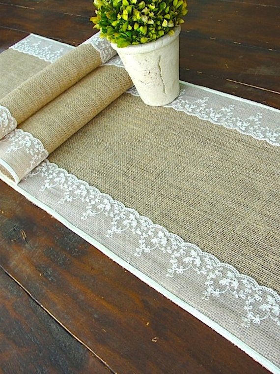 Burlap table runner wedding table runner with ivory Italian lace rustic chic , handmade in the USA