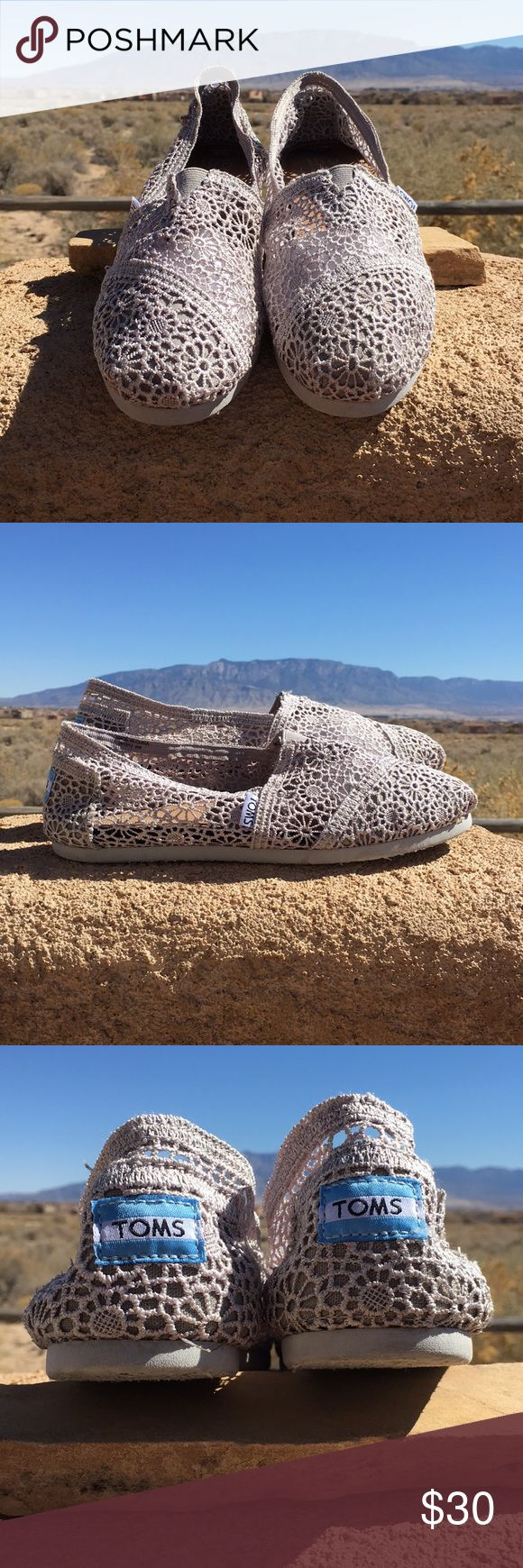 Taupe sheer lace TOMS. Taupe sheer lace TOMS. Size 8M. Worn once. Shoes stuffed with tissue in toes in first image. Slight gum from original tag on insole of left shoe. Odor free. Smoke/pet free home. Toms Shoes Flats & Loafers
