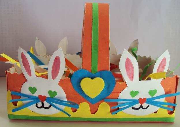 Osterkorb aus Taschentuchschachtel / panier pour Pâques fait avec une boîte de mouchoirs