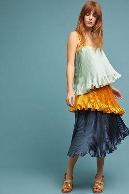 3895fa66874 Pleated Colorblock Dress in 2019
