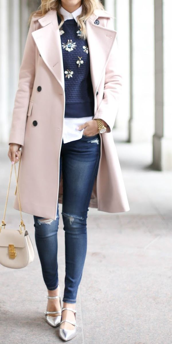 Layered up your look with a chic embellished blue sweater | Banana Republic