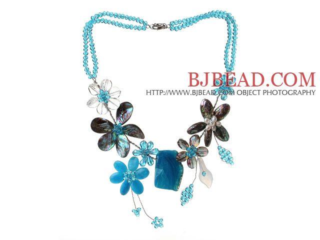 2013 Summer New Design Series Crystal Blue Blue Flower y Abalone Shell y cristalizado colgante, collar de ágata